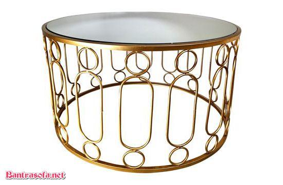 bàn trà mạ vàng mặt kính