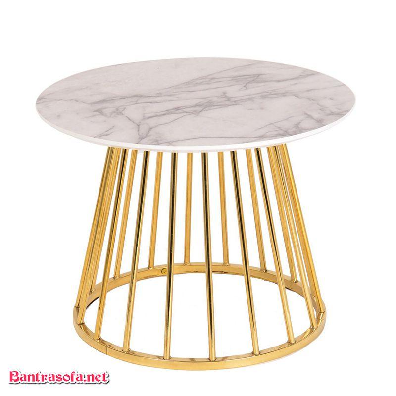 bàn trà mặt đá mạ vàng chân inox