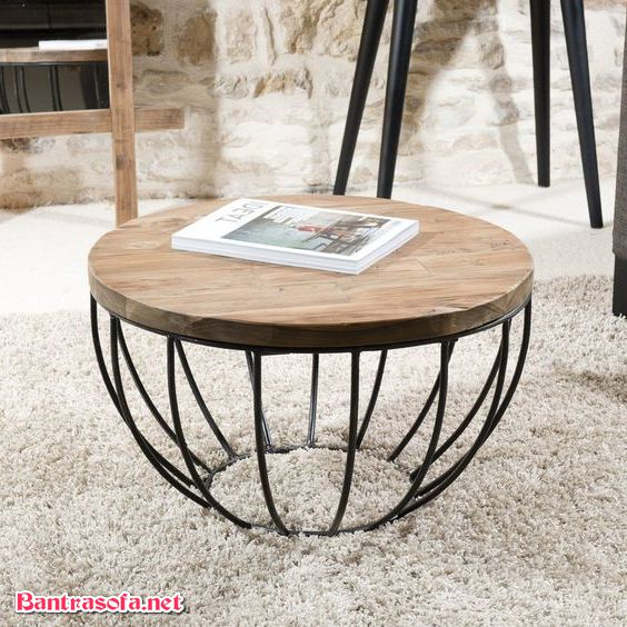 bàn trà sắt lồng chim mặt bàn gỗ