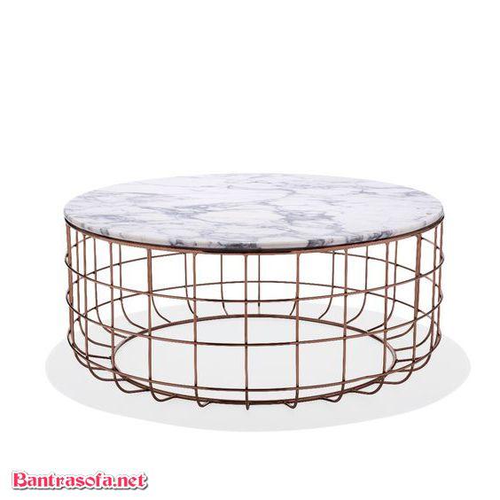 bàn trà sắt lồng chim mặt đá marble