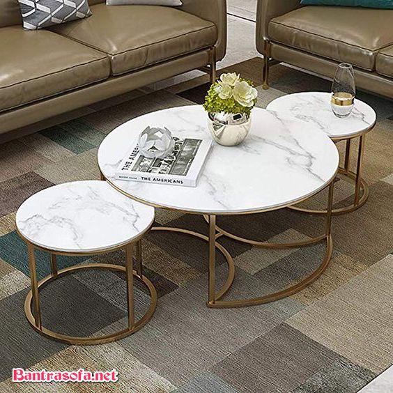 bàn trà sắt mặt đá trắng marble
