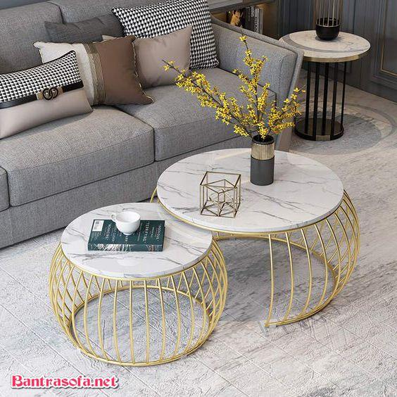 bàn trà chân sắt mặt đá mạ vàng pvd