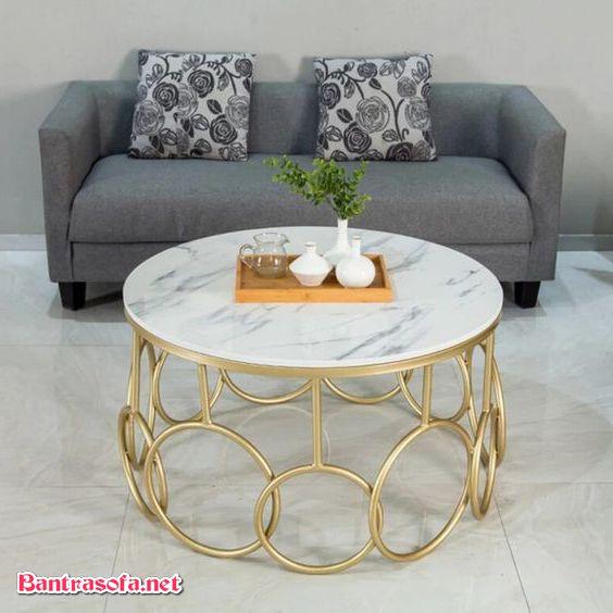 bàn trà sắt mặt đá mạ vàng pvd