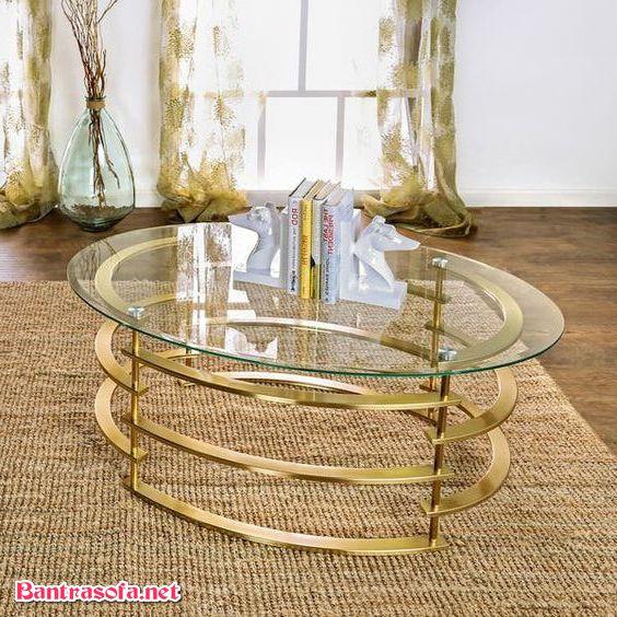 bàn trà sắt mặt kính