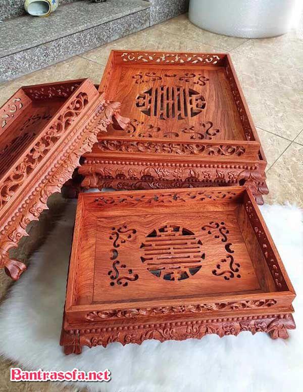 khay trà chân quỳ gỗ hương đá