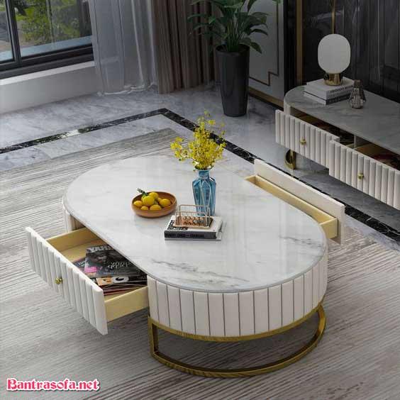 bàn trà bầu dục mặt đá marble