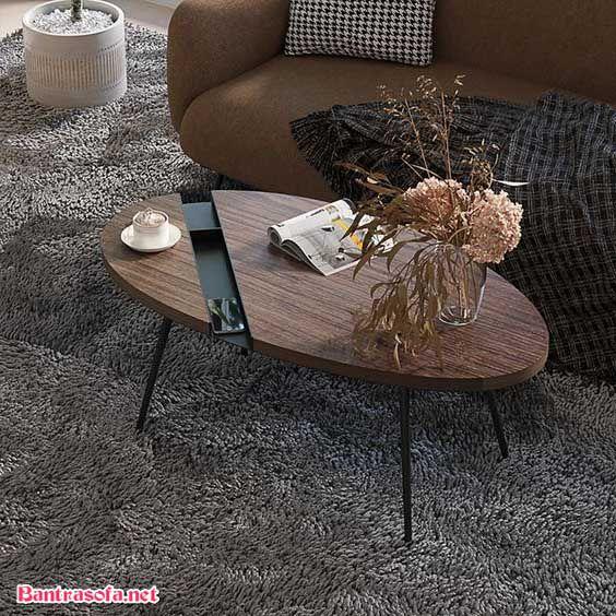 bàn trà bầu dục bằng gỗ dán mdf