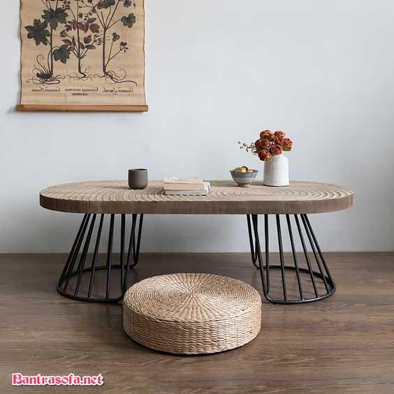 bàn trà bầu dục gỗ nguyên khối
