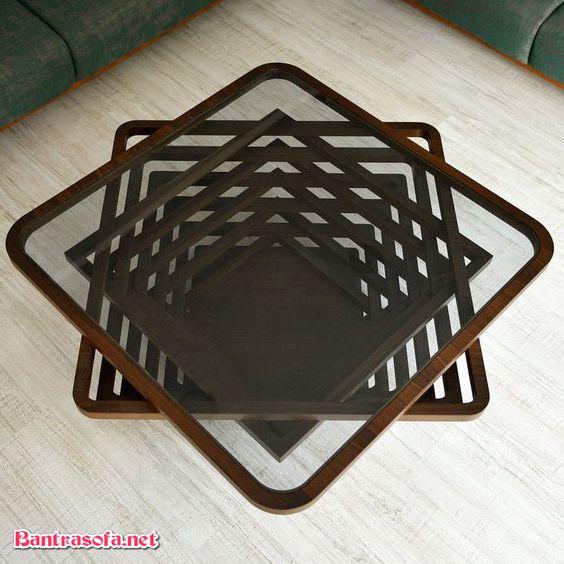 bàn trà độc đáo khung viền gỗ