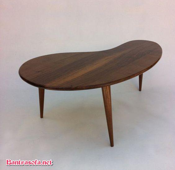 bàn trà hạt đậu chân gỗ