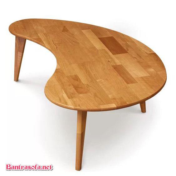 bàn trà hạt đậu gỗ thông chân gỗ