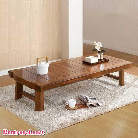 bàn trà nhật gỗ xoan đào dạng dài