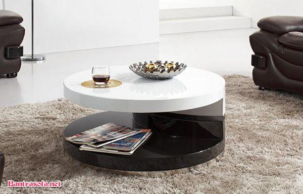 bàn trà tròn xoay 2 tầng trắng đen