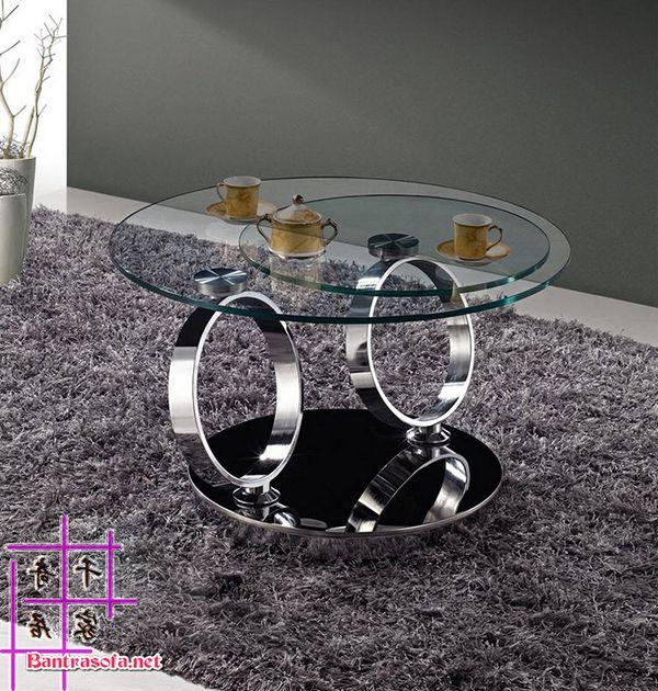 bàn trà tròn xoay mặt kính chân inox