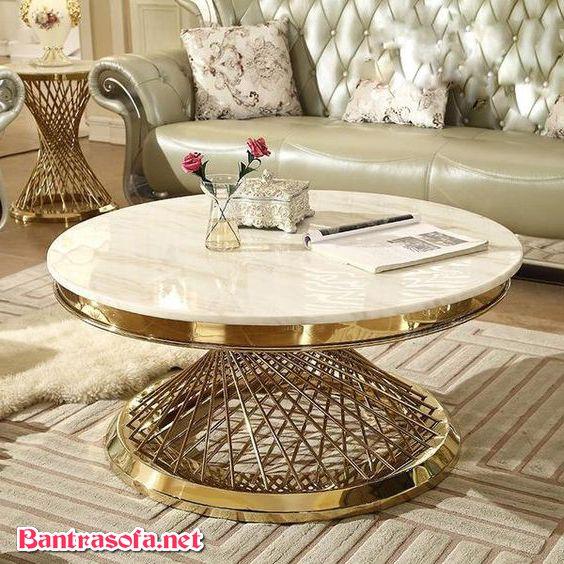 bàn trà tròn phong cách luxury