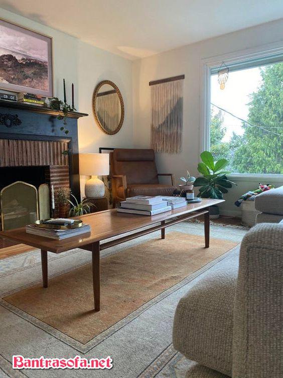 bàn trà sofa dài gỗ tự nhiên