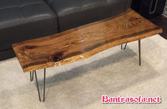 bàn trà dài mặt gỗ me tây