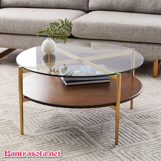 bàn trà mặt kính tròn trong suốt