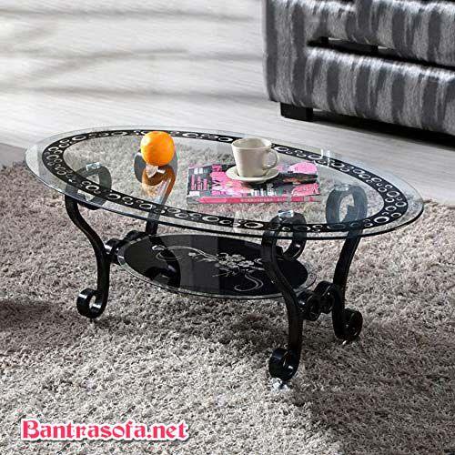 bàn trà sofa chân sắt mặt kính cổ điển