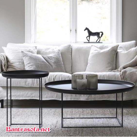 bàn sofa chân sắt đôi