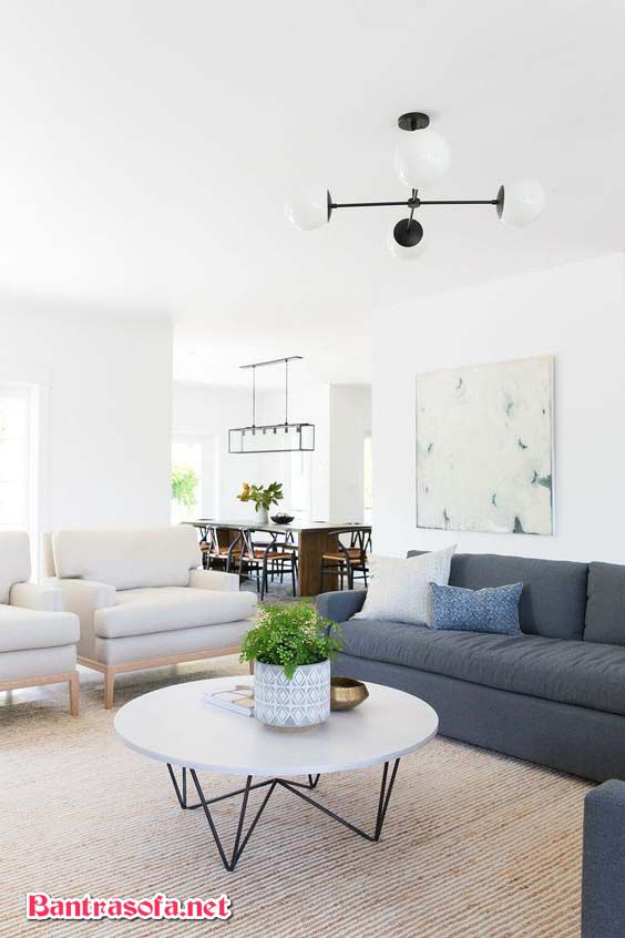 bàn sofa chân sắt mặt đá tròn