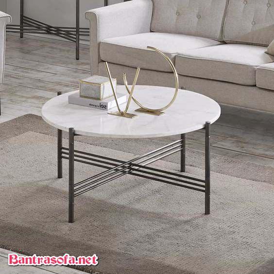 bàn sofa chân sắt mặt đá màu trắng