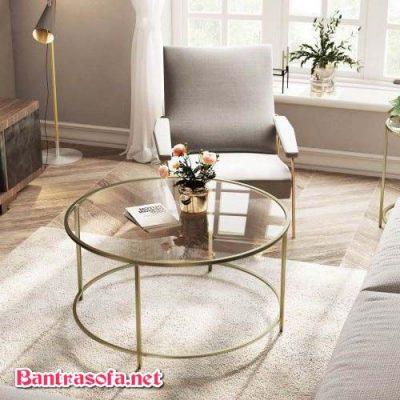 bàn sofa chân sắt mặt kính