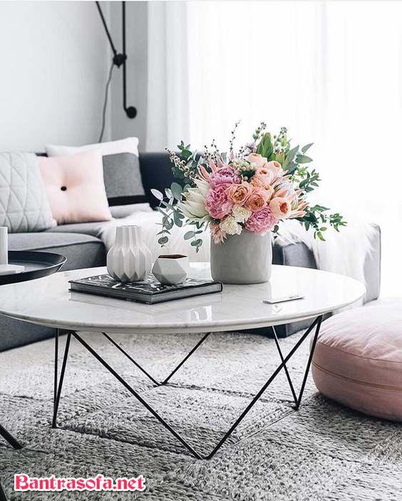bàn sofa chân sắt tròn