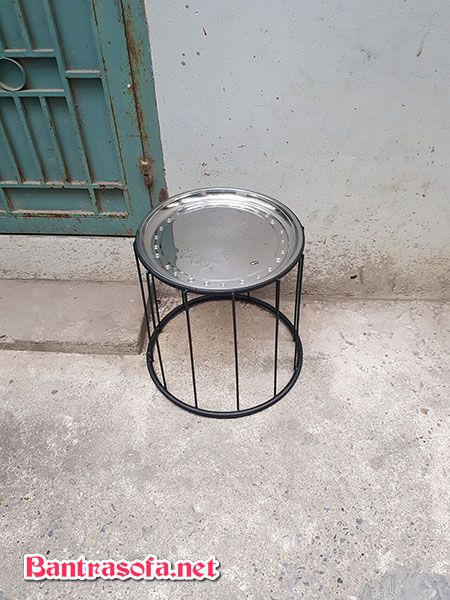 bàn trà chanh sắt khung inox