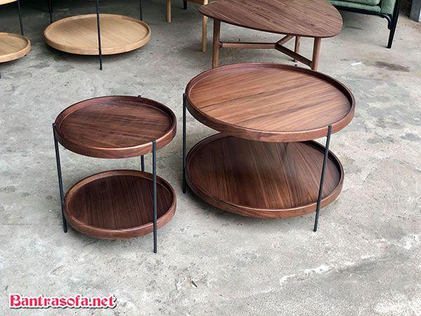 bàn trà chanh đẹp khung sắt mặt gỗ