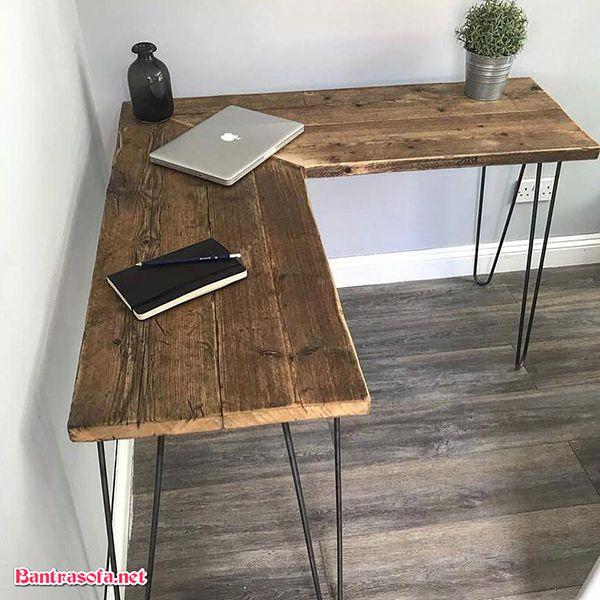 mặt bàn gỗ thông góc chữ L