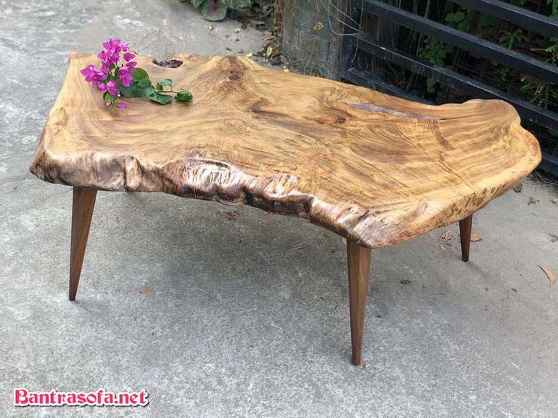 mặt bàn gỗ xá xị chân gỗ