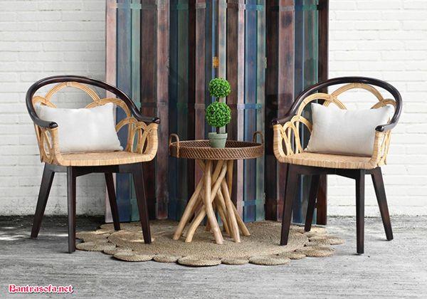 bộ bàn ghế kẹp trà đẹp mắt mây tre đan