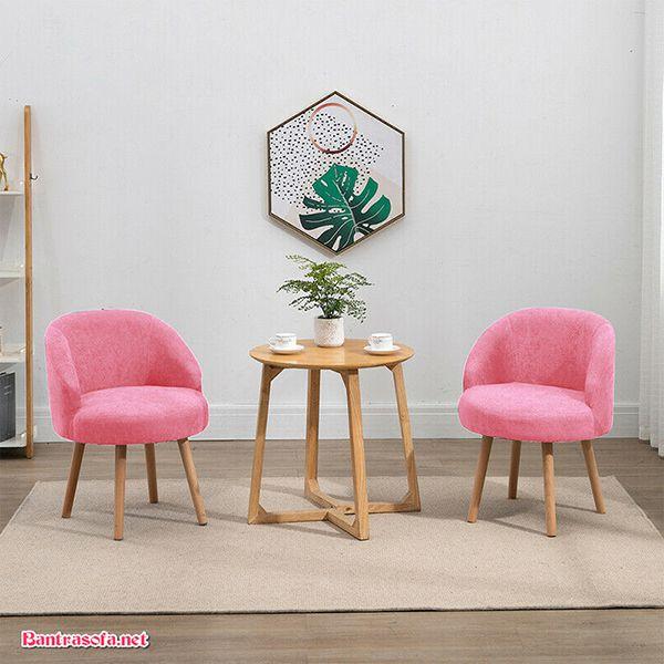 bộ bàn ghế kẹp trà màu hồng