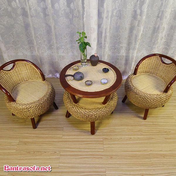 bộ bàn ghế kẹp trà mây tre đan