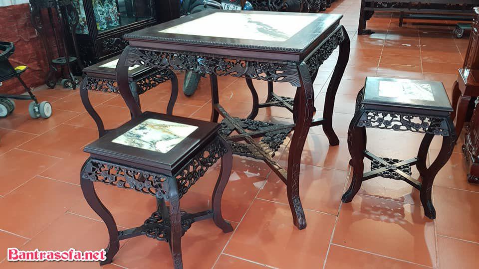 bộ bàn trà gỗ gụ 4 ghế 5 món