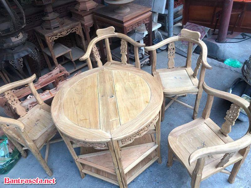 bàn trà gỗ gụ tròn đẹp