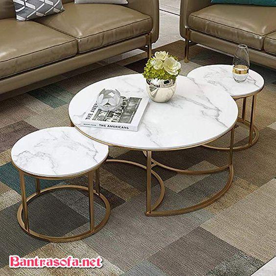 bàn trà tròn mặt đá 3 chiếc