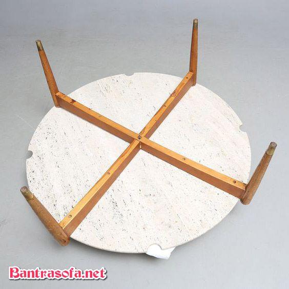 bàn trà tròn mặt đá chân gỗ