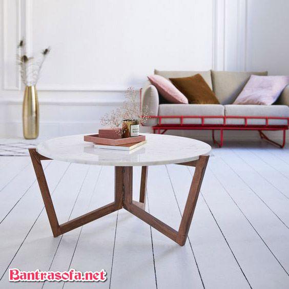 bàn trà tròn mặt đá khung gỗ đẹp