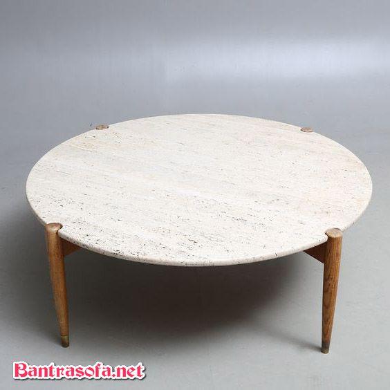 bàn trầ tròn mặt đá chân gỗ