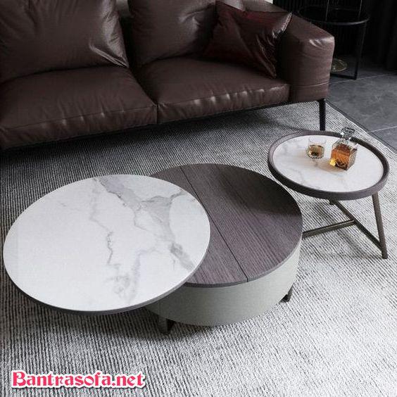 bàn trà tròn mặt đá đôi