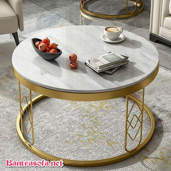 bàn trà tròn mặt đá chân inox mạ vàng