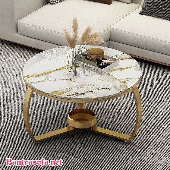 bàn trà tròn mặt đá khung inox mạ vàng