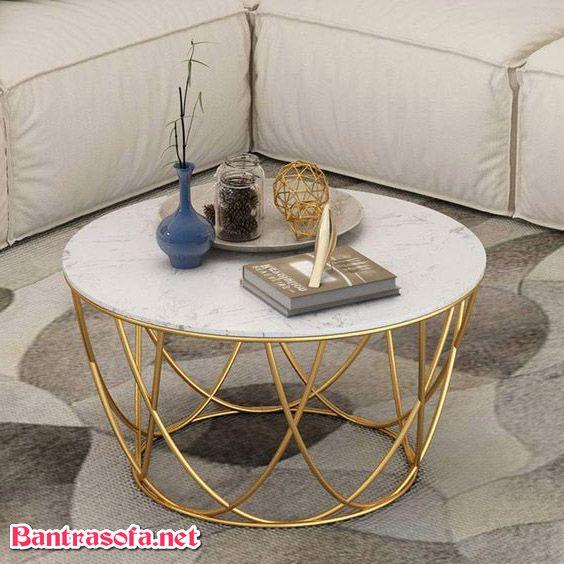 bàn trà tròn mặt đá chân inox
