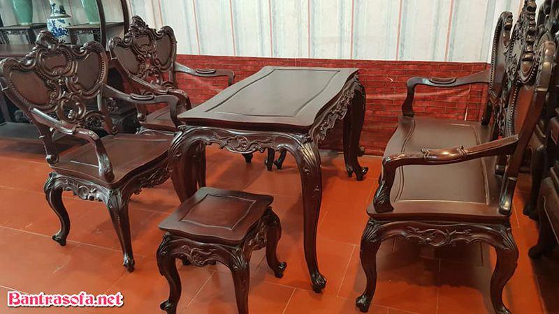 bộ bàn trà gỗ gụ đẹp tân cổ điển