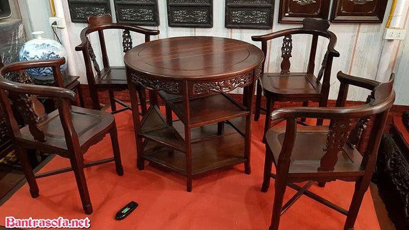 bộ bàn trà gỗ gụ tròn đẹp